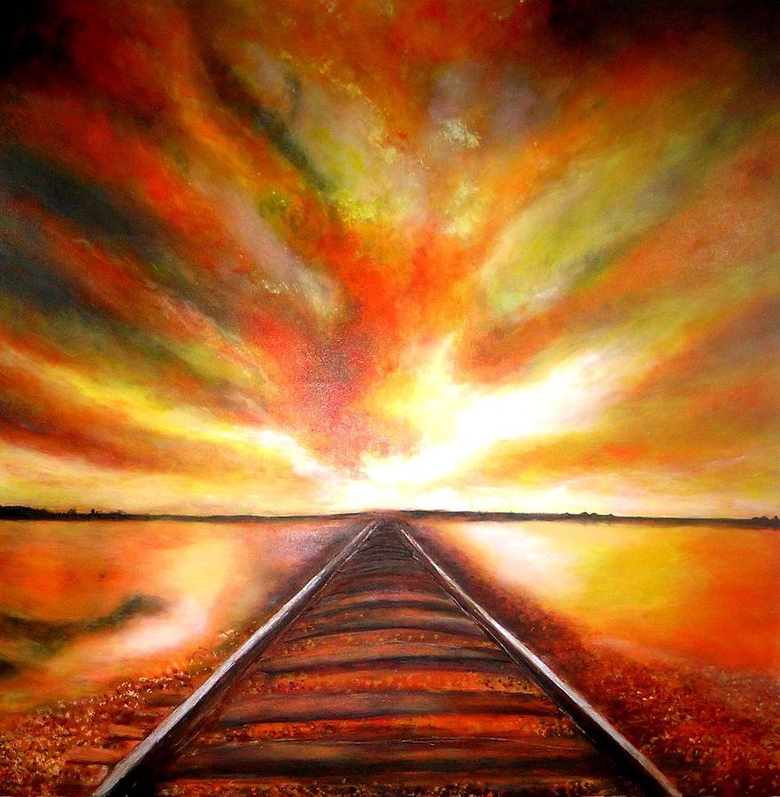 Sky Painting - The Old Railroad  by Marie-Line Vasseur