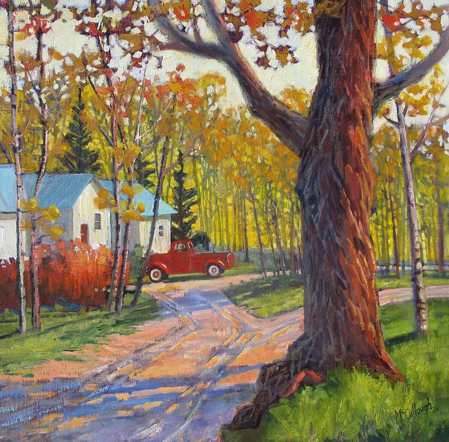 Fall Painting - The Old Red Pickup by Susan McCullough
