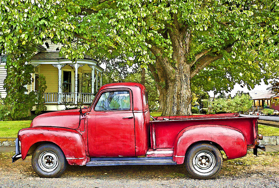 the old red truck painting by ginger sanders