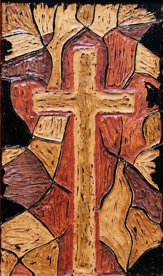 Cross Pyrography - The Old Rugged Cross by Lisa Brandel