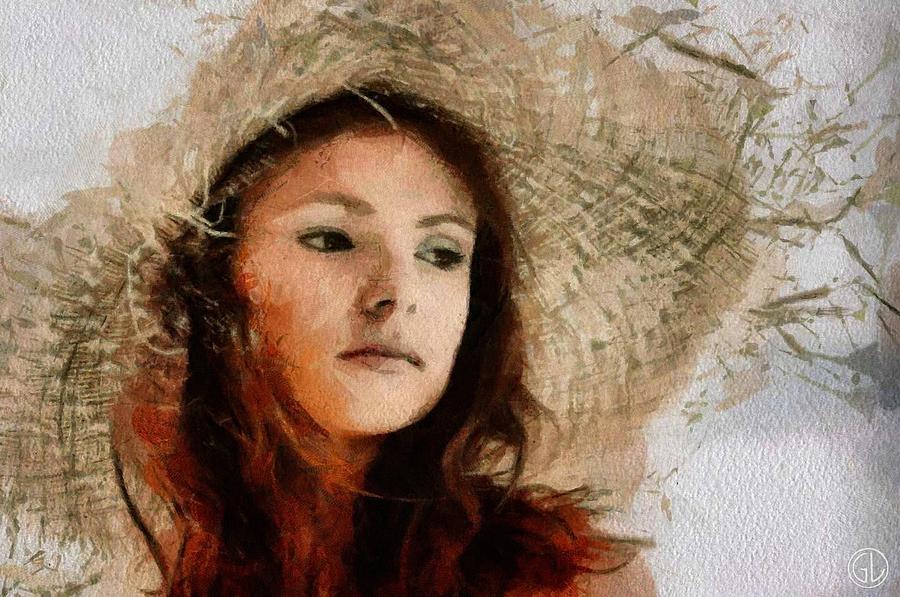 Woman Digital Art - The Old Strawhat by Gun Legler
