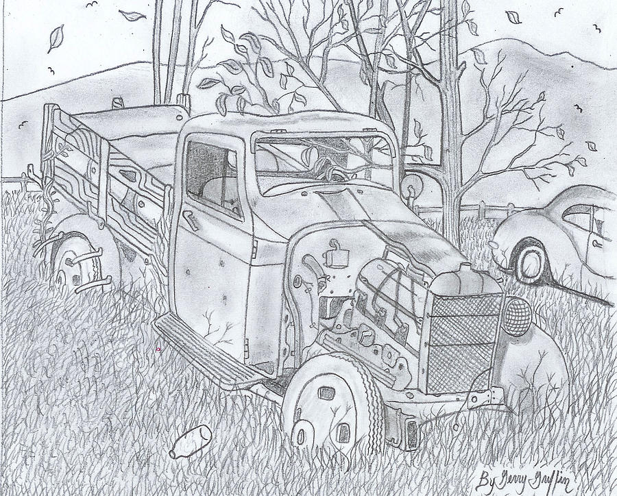 Rustic Truck Drawing - The Old Texaco Gas Truck by Gerald Griffin