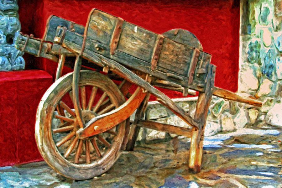 Wooden Wheelbarrow Painting - The Old Wheelbarrow by Michael Pickett