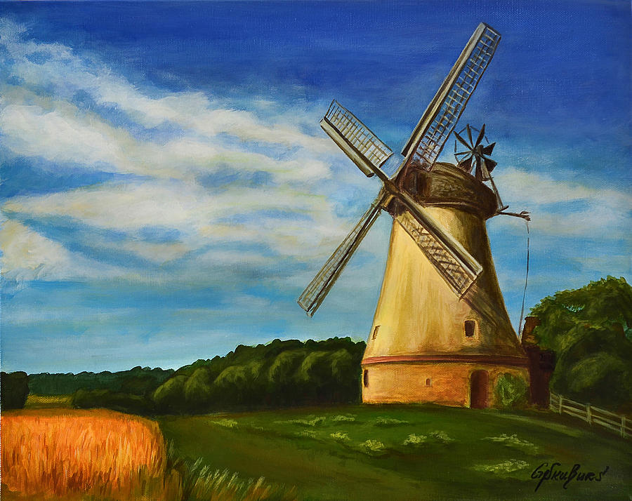Windmill Painting - The Old Windmill by Gynt Art