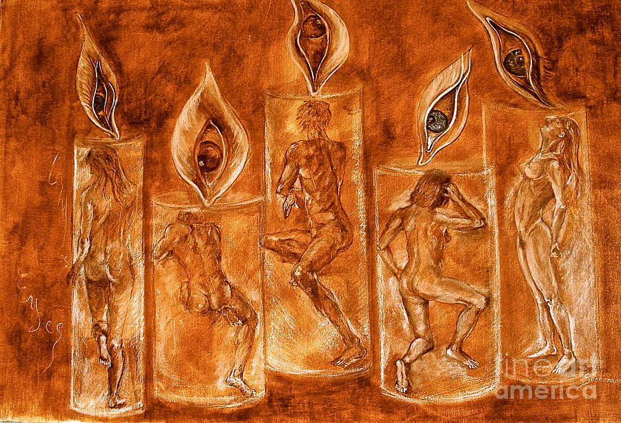 Candles Painting - The Only Journey Is The One Within by Delona Seserman