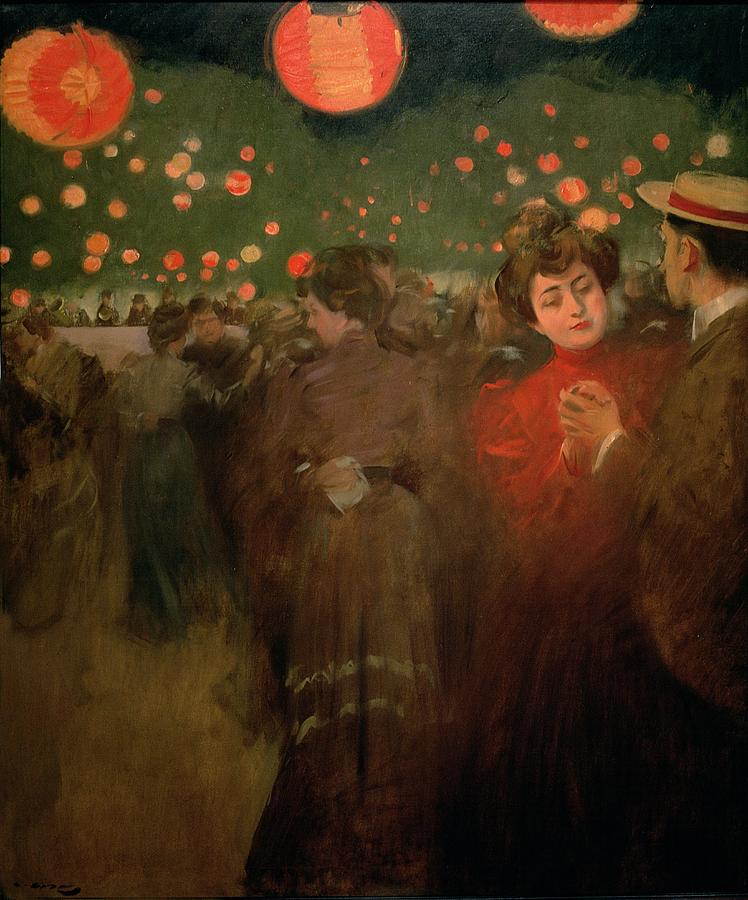 Dance; Evening; Lantern; Outdoors; Chinese Lanterns; Fiesta; Couple; Boater Painting - The Open Air Party by Ramon Casas i Carbo