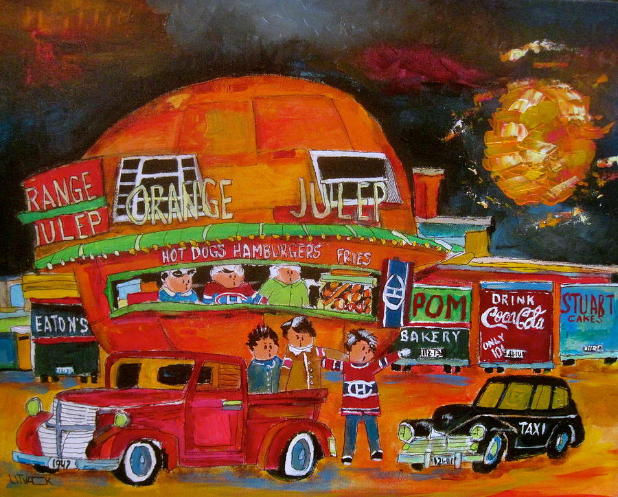 Orange Julep Painting - The Orange Julep And The 1947s by Michael Litvack