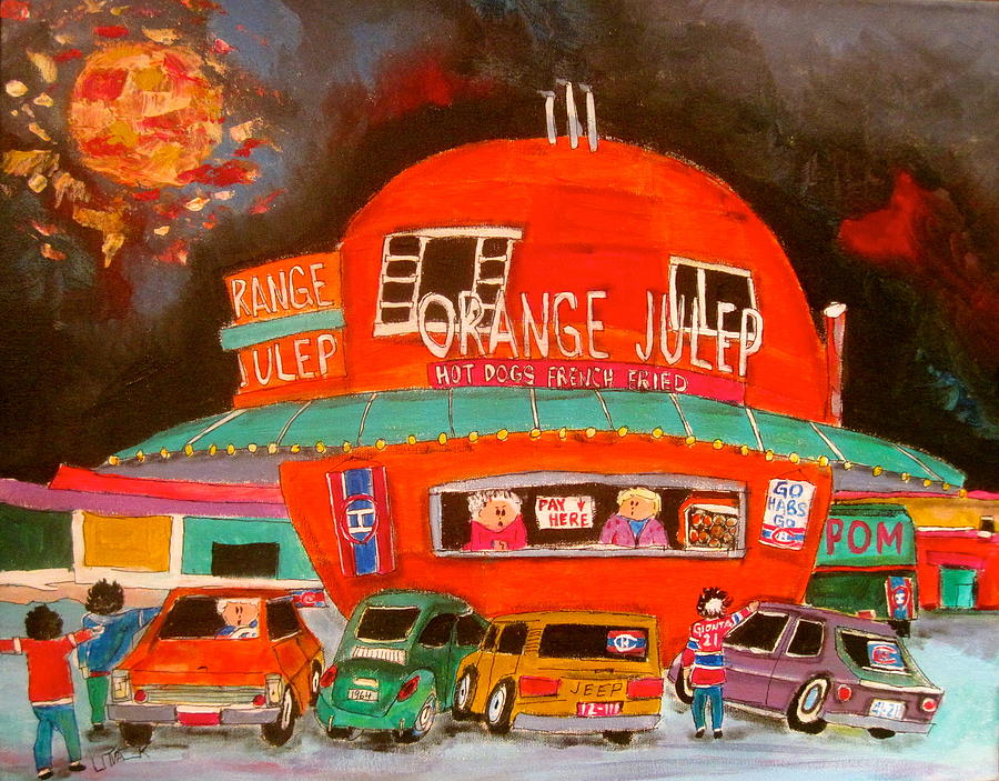 Montreal Painting - The Orange Julep And The Play Offs by Michael Litvack