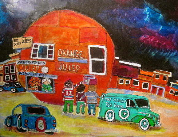 Montreal Memories Painting - The Orange Julep Modern Tea Room by Michael Litvack