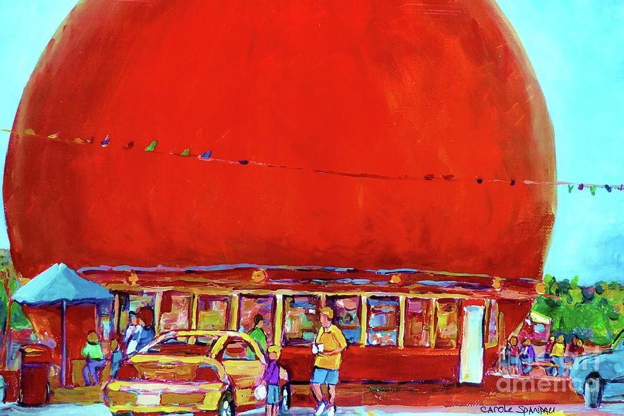 Montreal Painting - The Orange Julep Montreal Summer City Scene by Carole Spandau