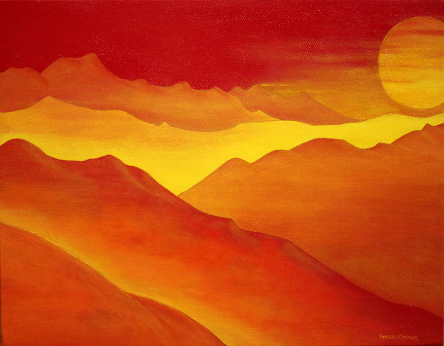 Mountains Painting - The Orange Mountains by Robert Crooker