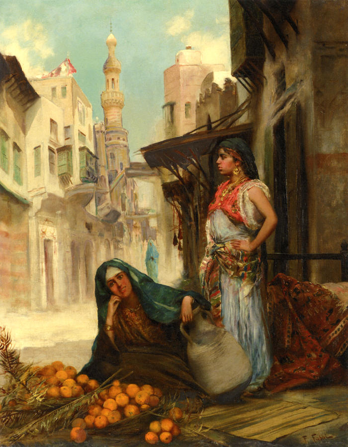 Two Women Digital Art - The Orange Seller by Fabbio Fabbi