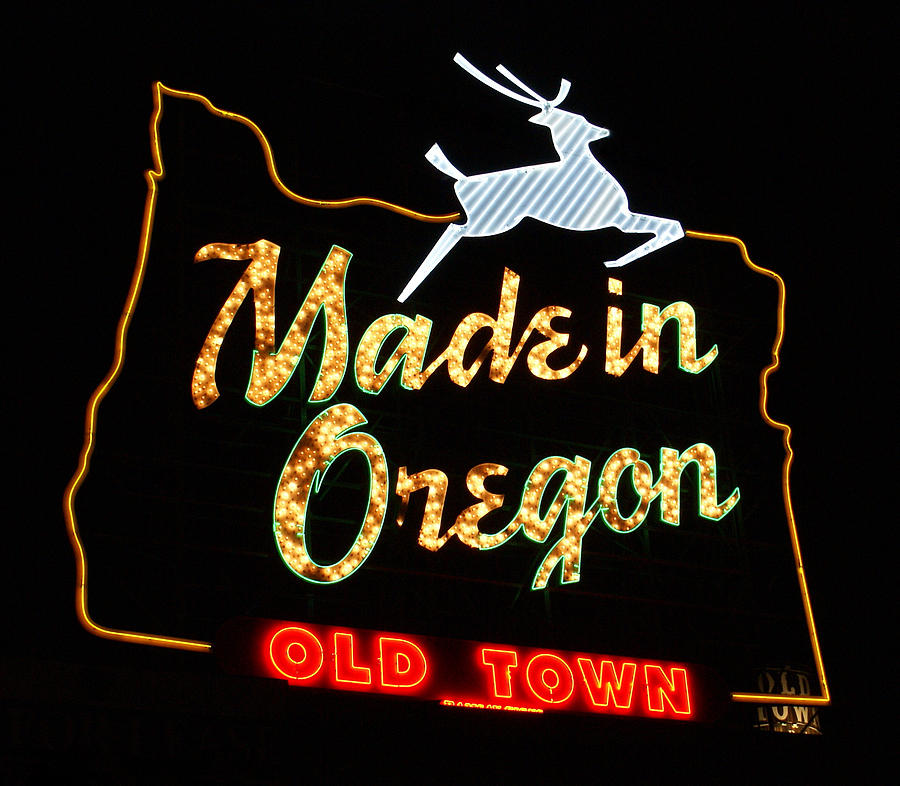 Neon Sign Photograph - The Original Made In Oregon Sign by DerekTXFactor Creative