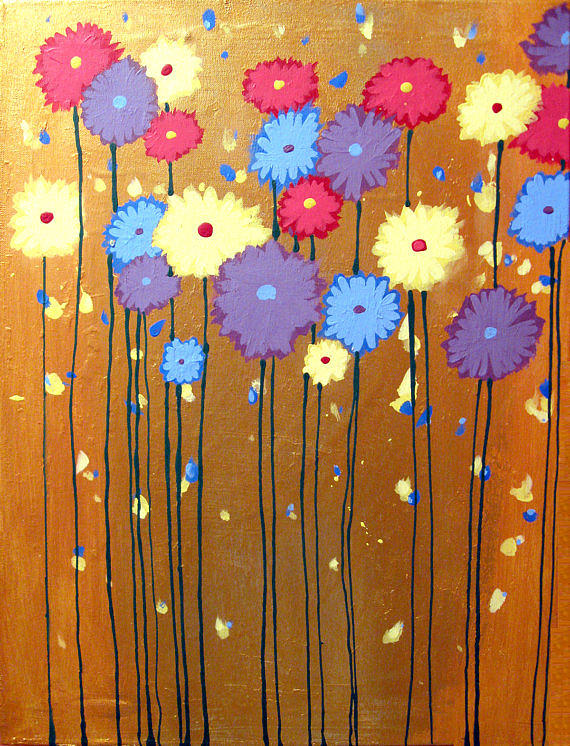 The original painting for sale flowers of color field of for Original modern art for sale