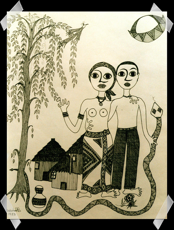 Ink Drawing - The Original Sin by Madalena Lobao-Tello