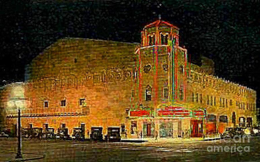 Orpheum Theatre Painting - The Orpheum Theatre At Night In Phoenix Az In 1932 by Dwight Goss