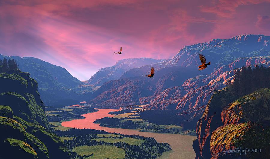 Landscape Digital Art - The Other Side by Dieter Carlton