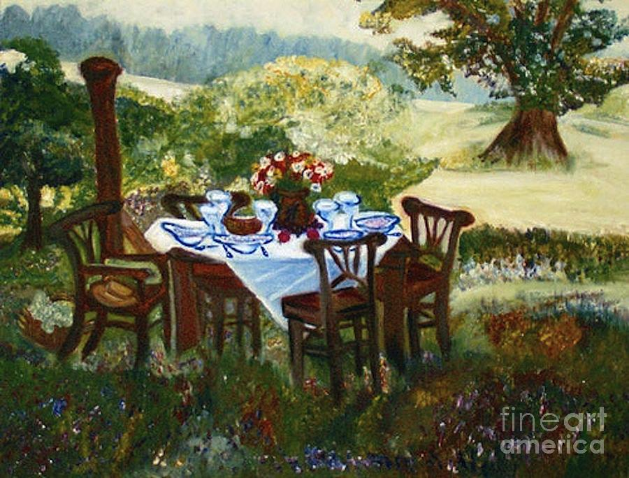 Landscapes Painting - The Outdoor Gathering by Helena Bebirian