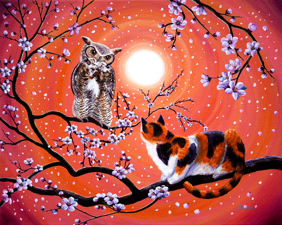 The Owl And The Pussycat In Peach Blossoms Painting By