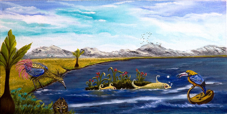 Fantasy Landscape Painting - The Owl Knows All by Susan Culver