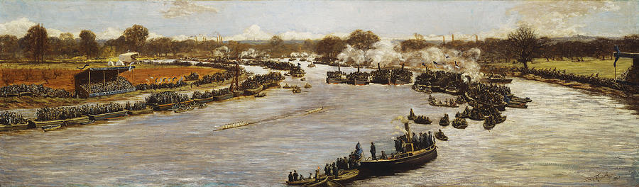 1880; 1880s; 1870s; 1879; 19th Century; 19th Century Painting; Artist British; Artist European; Artwork; Barge; Barges; Boat Race; British Artist; British & Irish Art; British Art; Crowd; Day; Daytime; Elevated; Elevated View; European Artist; Fine Art; Grandstand; Group; Human; Human Role; James Macbeth; Late 19th Century; Late Nineteenth Century; Large Group Of People; Large Group; Leisure & Pastimes; Looking; Macbeth; Meeting; Natural Space; Natural Phenomena; Nineteenth Century; Oil;  Painting - The Oxford And Cambridge Boat Race by James Macbeth