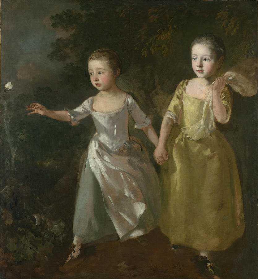 Thomas Gainsborough Painting - The Painters Daughters Chasing A Butterfly by Thomas Gainsborough