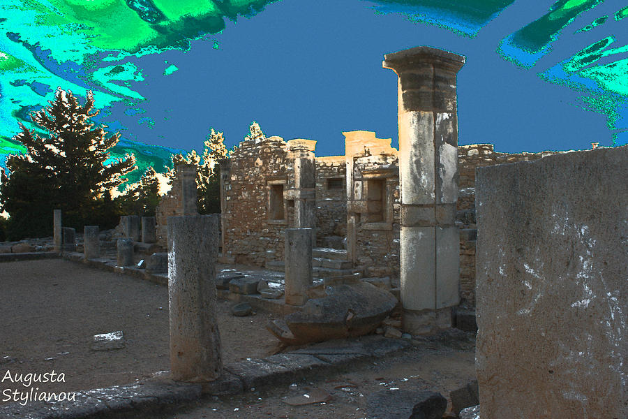 Ancient Digital Art - The Palaestra -temple Of Apollo by Augusta Stylianou