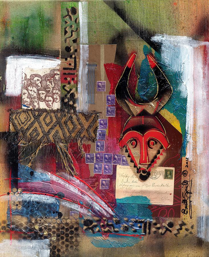 African Mask Painting - The Paradox Of Independence by Everett Spruill