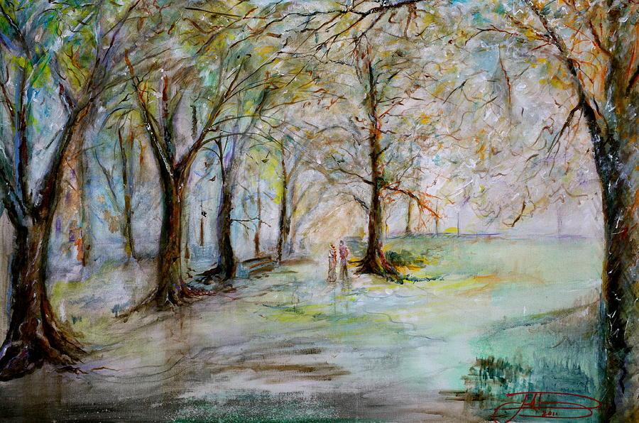 Jack Diamond Painting - The Park Bench by Jack Diamond