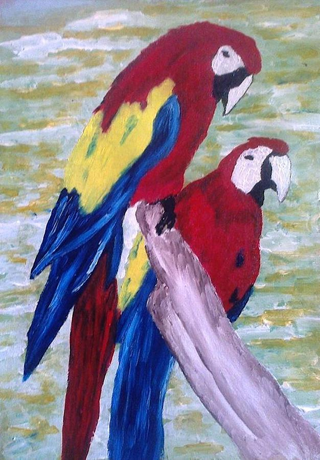 Birds Painting - The Parrots by Kevin Chimasia