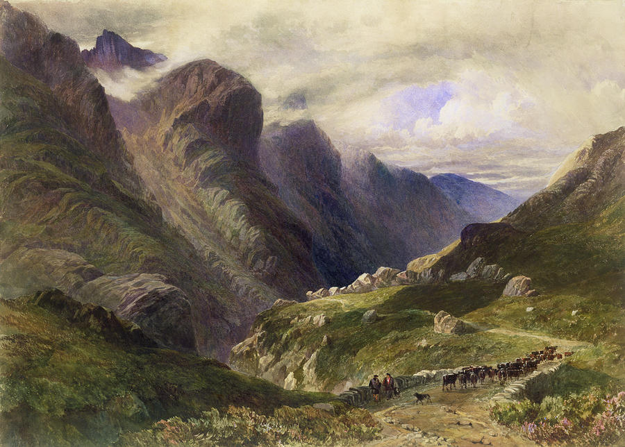 Mountain Drawing - The Pass Of Glencoe, 1852 by William Bennett