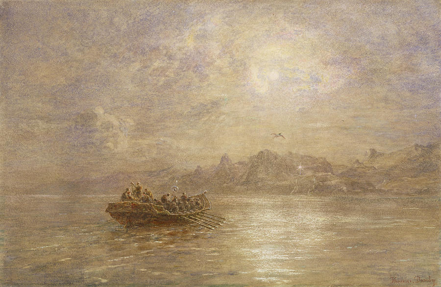 Dawn; Dusk; Fog; Mist; Sea; Coast; Coastal; Morning; Evening; Rowing Boat; Mountains; Cliffs; Crew; Shore; Atmospheric; Signal; Light; Nocturne Painting - The Passing Of 1880 by Thomas Danby