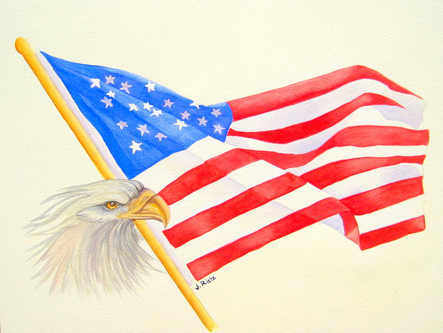 Flag Painting - The Patriot by Julia Rietz