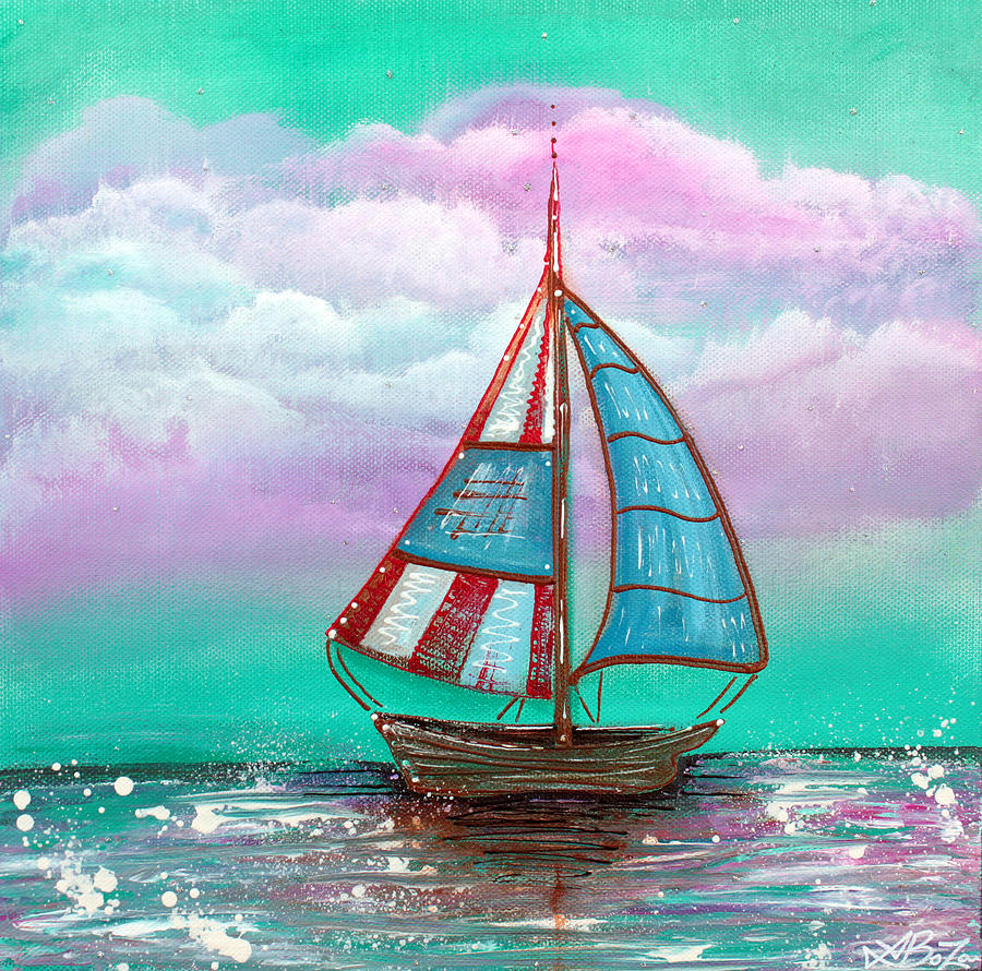Sailboat Painting - The Patriot by Laura Barbosa