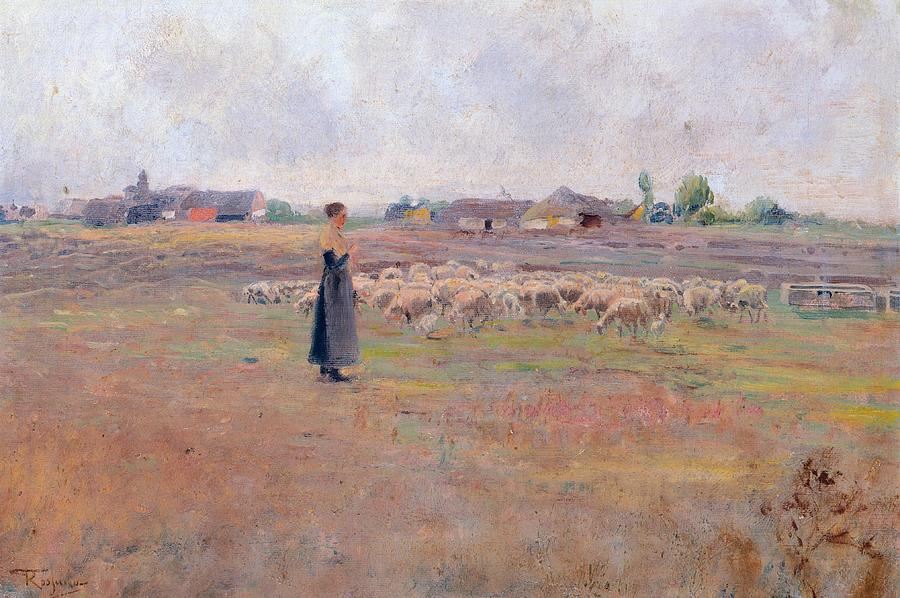 Sheep Painting - The Peace Of Evening by Federico Rossano