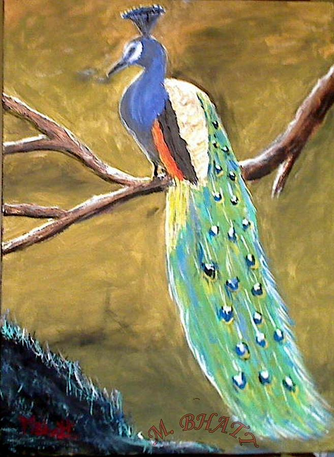 Indian National Bird Painting - The Peacock-2 by M bhatt