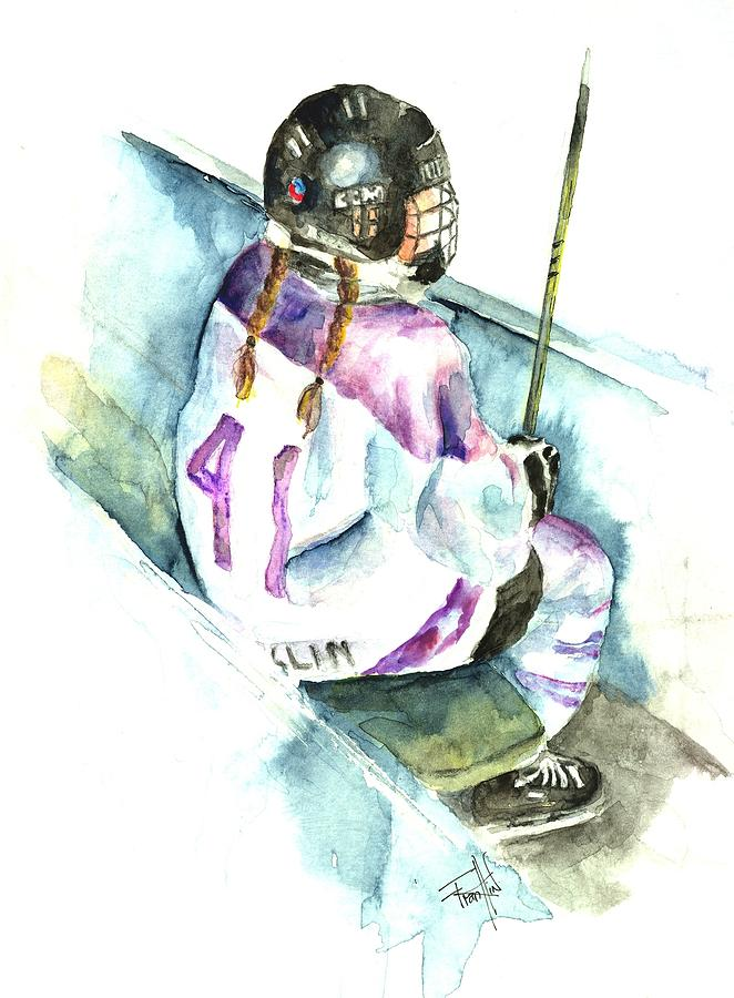 Ringette Painting - The Penalty Box by Leslie Franklin