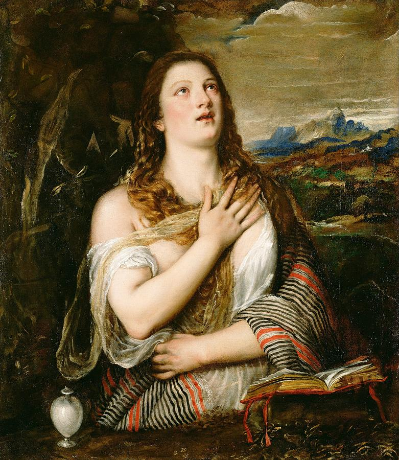 California Painting - The Penitent Magdalene by Titian