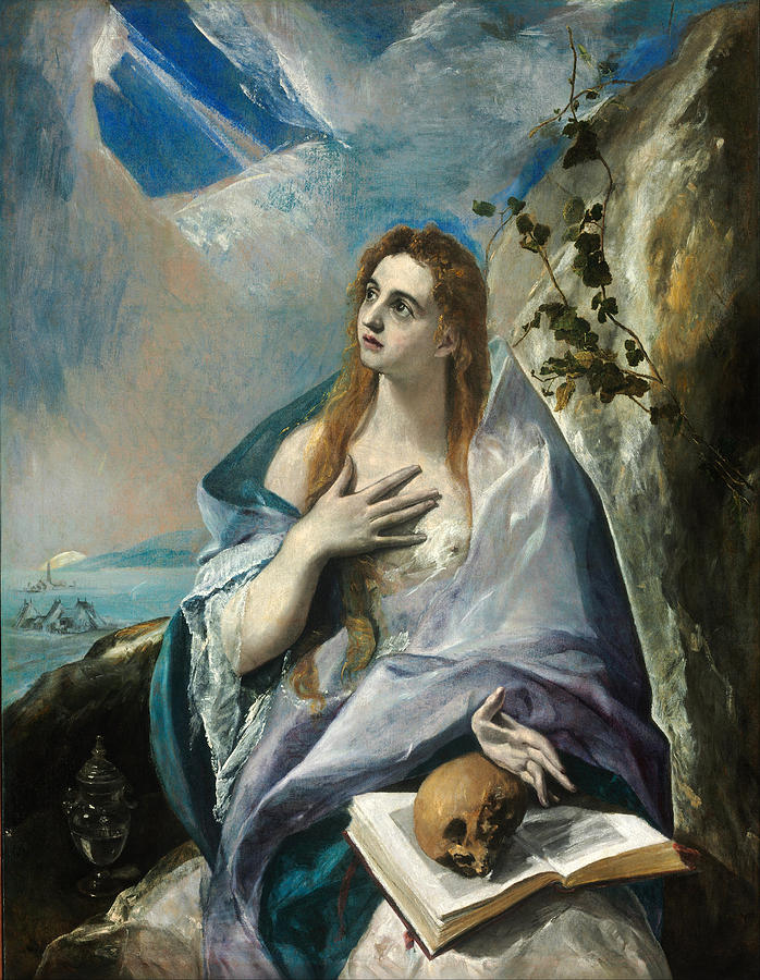El Greco Painting - The Penitent Mary Magdalene by El Greco