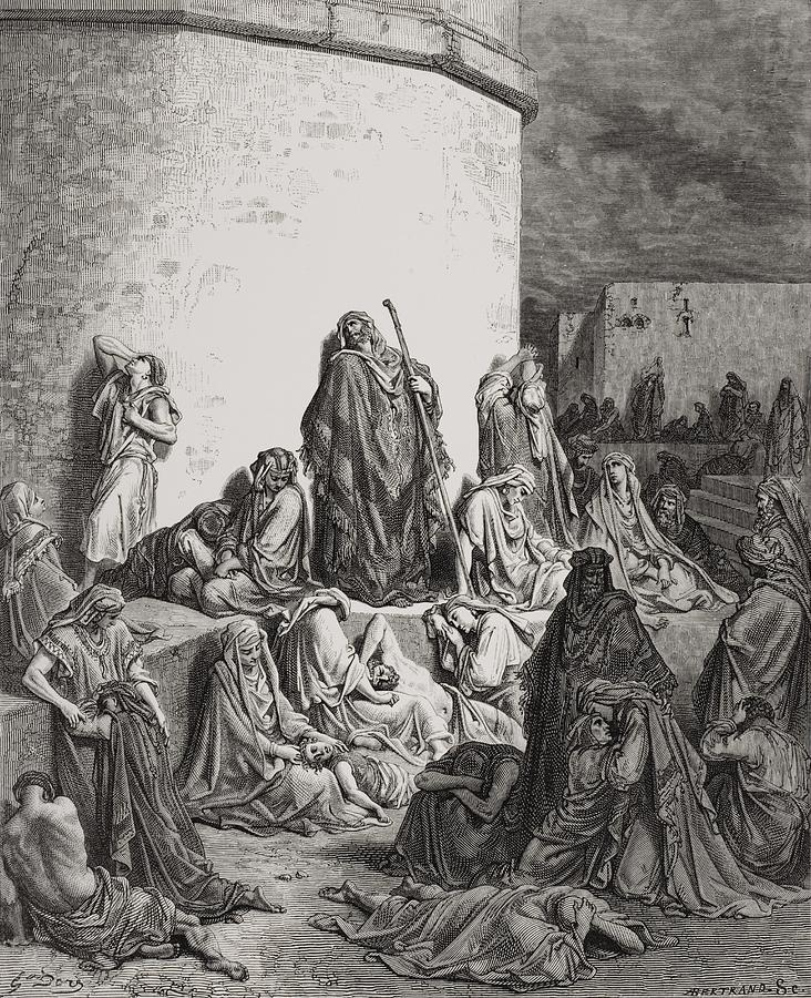 Wall Painting - The People Mourning Over The Ruins Of Jerusalem by Gustave Dore