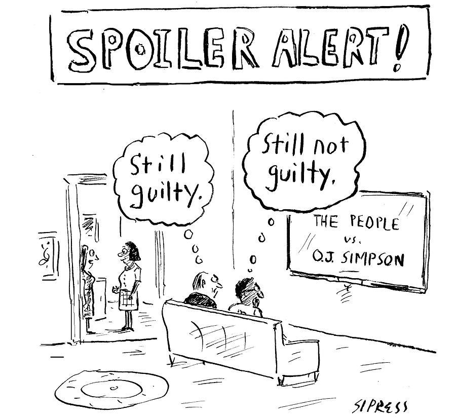 Cartoon Drawing - The People Vs. O.j. Simpson by David Sipress
