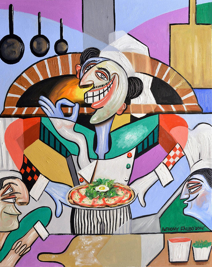 Pizza Painting - The Personal Size Gourmet Pizza by Anthony Falbo
