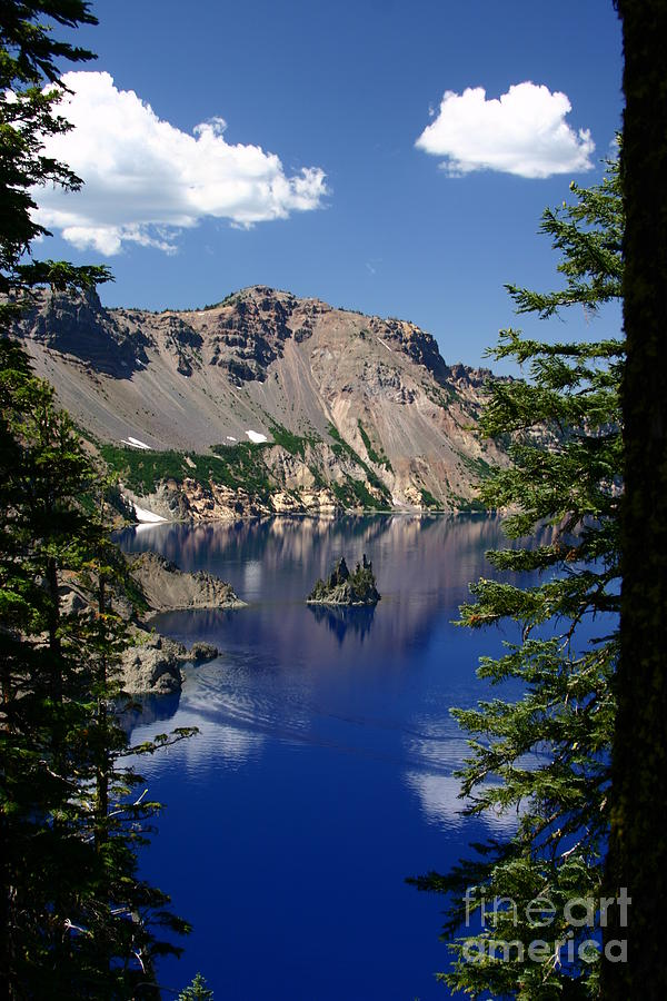 Crater Lake Photograph - The Phantom Ship by Cari Gesch