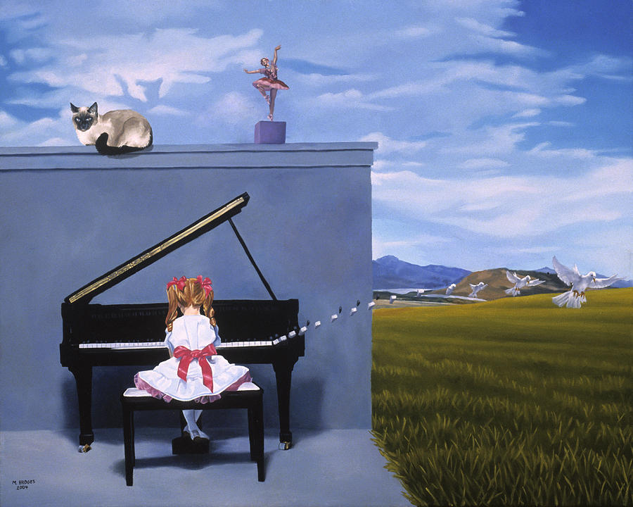 Child Painting - The Piano Player by Michael Bridges