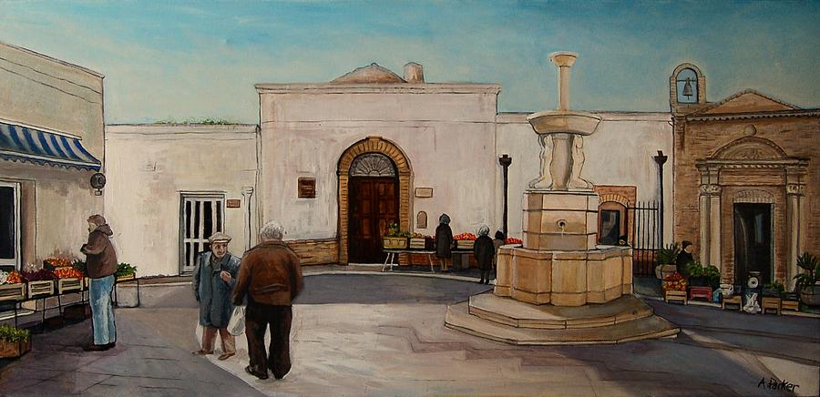 Fruit Market Painting - The Piazza by Anne Parker
