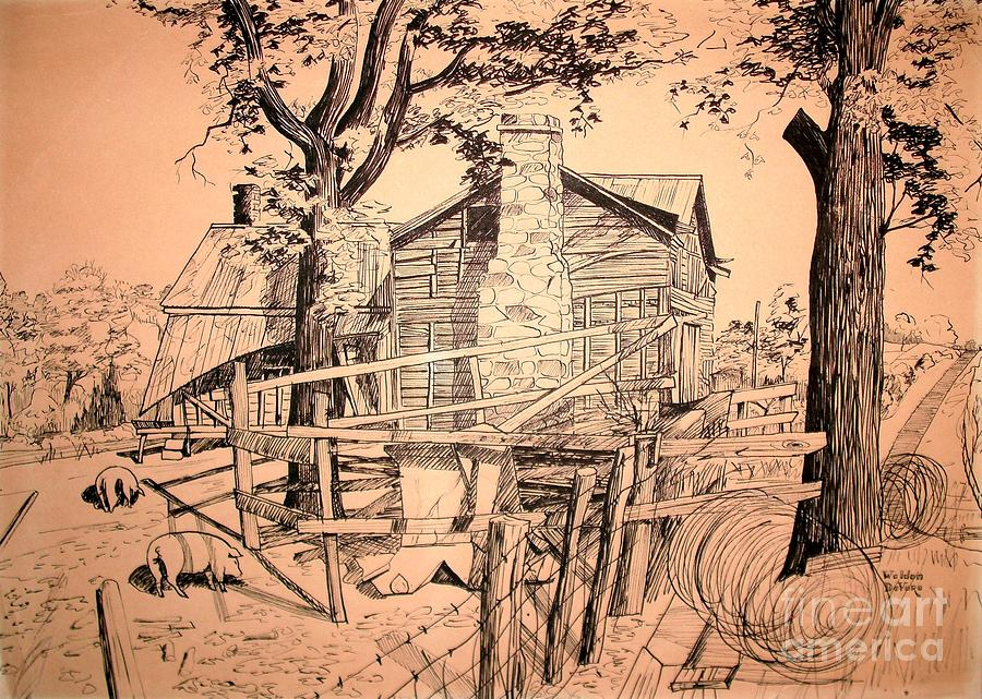 The Pig Sty Drawing - The Pig Sty by Kip DeVore