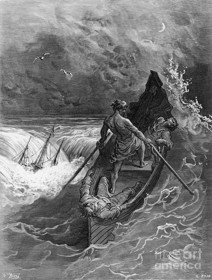 Gustave Drawing - The Pilot faints scene from The Rime of the Ancient Mariner by S.T. Coleridge by Gustave Dore