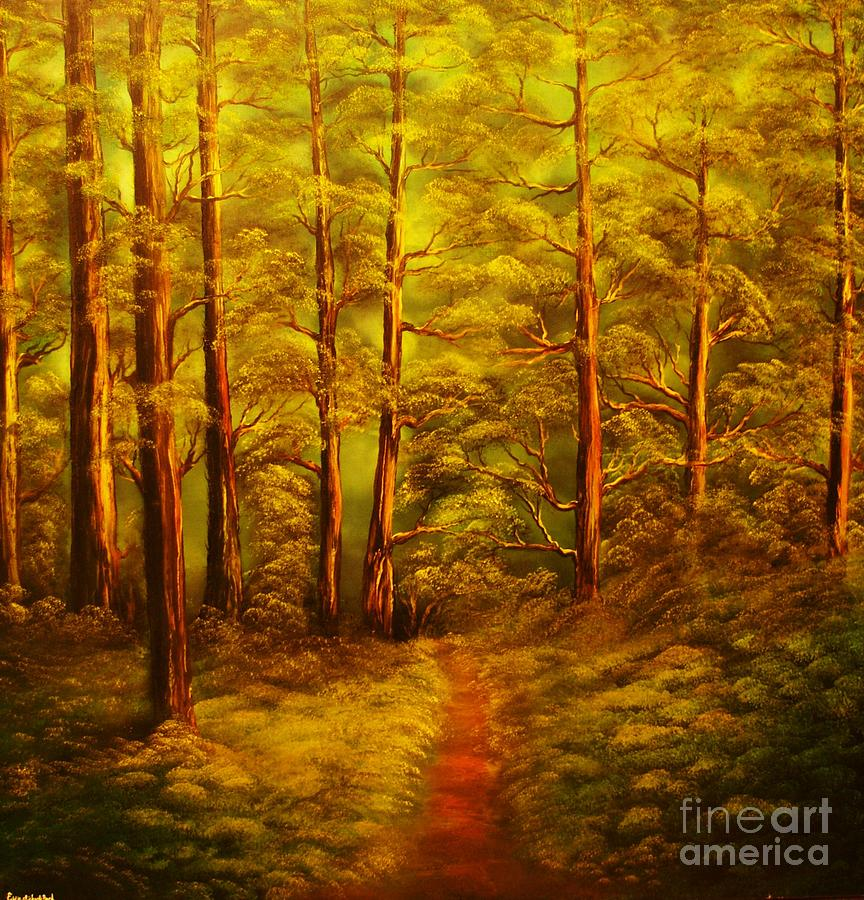 Fores Painting - The Pine Tree Forest-original Sold-buy Giclee Print Nr 34 Of Limited Edition Of 40 Prints  by Eddie Michael Beck