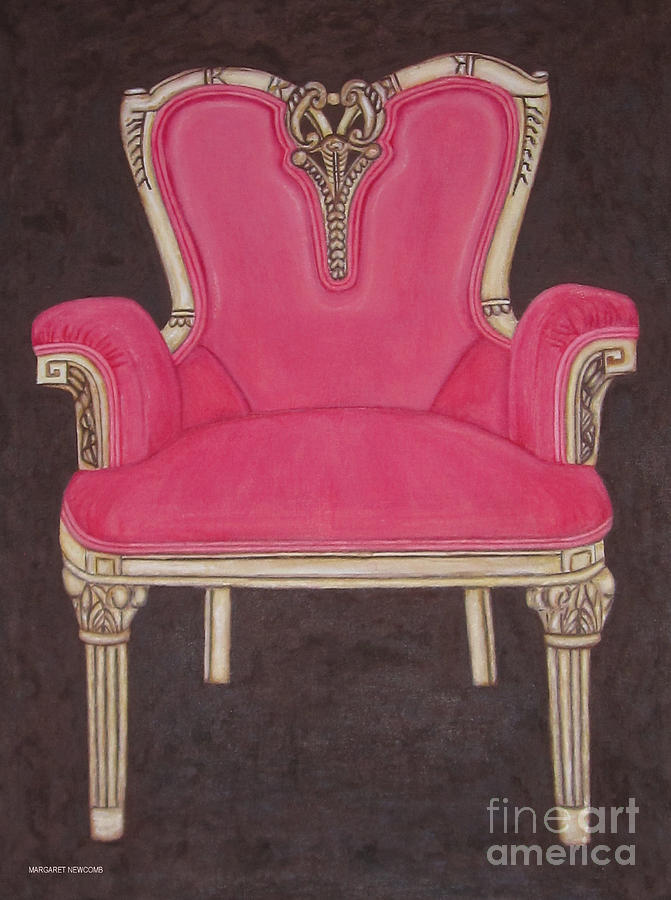 Antique Drawing   The Pink Chair By Margaret Newcomb