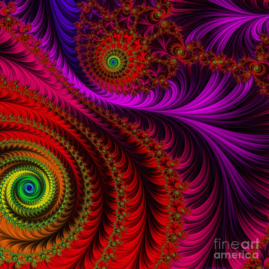 Fractal Digital Art - The Pink Feathers by Mary Machare